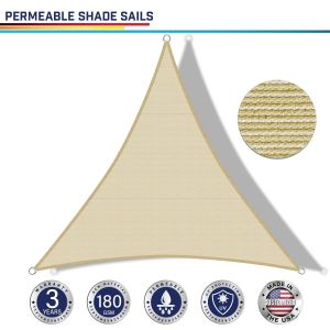 180GSM PE-Permeable No Grommet Curved Triangle Sun Shade Sail