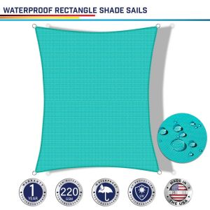 220GSM Vinyl-Waterproof No Grommet Curved Rectangle Sun Shade Sail