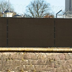 Real Scene Effect of Windscreen4less 5ft x 12ft Heavy Duty Privacy Fence Screen in Color Brown with Brass Grommet 88% Blockage Windscreen Outdoor Mesh Fencing Cover Netting 150GSM Fabric (3 Year Warranty)-Custom Sizes Available