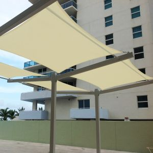 Real Scene Effect of 220GSM Vinyl-Waterproof No Grommet Curved Rectangle Sun Shade Sail