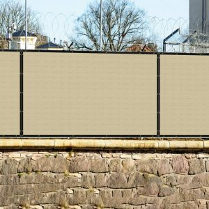 Real Scene Effect of 440GSM Vinyl Beige Privacy Fence Screen