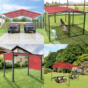 Real Scene Effect of 180GSM PE-Permeable Grommet Straight Rectangle Sun Shade Sail