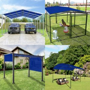 Real Scene Effect of 240GSM PE-Permeable Grommet Straight Rectangle Sun Shade Sail