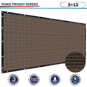 Windscreen4less 5ft x 12ft Heavy Duty Privacy Fence Screen in Color Brown with Brass Grommet 88% Blockage Windscreen Outdoor Mesh Fencing Cover Netting 150GSM Fabric (3 Year Warranty)-Custom Sizes Available