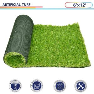 Windscreen4less 6' x 12' Artificial Grass Turf Realistic Fake Grass Turf Synthetic Pet Turf, Outdoor/Indoor Fake Grass Rug Astroturf for Dogs with Drainage Holes, Pile Height:35mm - Custom Sizes Available