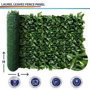 Windscreen4less Custom Size 39-58Inch x 1-780Inch Artificial Faux Ivy Leaf Decorative Fence Screen Green Faux Laurel Leaves Fence Panel