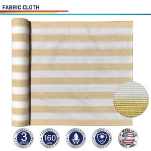 160GSM HDPE Beige / White Strips Fabric Cloth