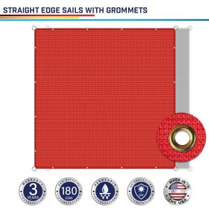 180GSM PE-Permeable Grommet Straight Rectangle Sun Shade Sail