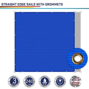 240GSM PE-Permeable Grommet Straight Rectangle Sun Shade Sail