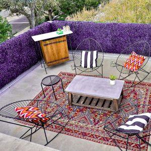"Real Scene Effect of Windscreen4less Artificial Faux Ivy Leaf Decorative Fence Screen 20"" x 20"" Purple Peanut Leaves 6pcs"