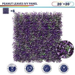 "Windscreen4less Artificial Faux Ivy Leaf Decorative Fence Screen 20"" x 20"" Purple Peanut Leaves 6pcs"