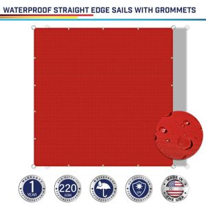 220GSM Vinyl-Waterproof Grommet Straight Rectangle Sun Shade Sail