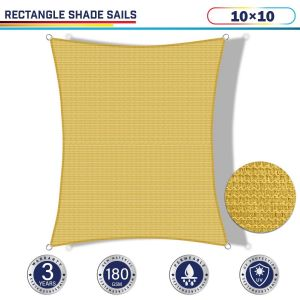 Windscreen4less 10ft x 10ft Rectangle Curve Edge Sun Shade Sail Canopy in Color Sand for Outdoor Patio Backyard UV Block Awning with Steel D-Rings 180GSM (3 Year Warranty) - Customized Sizes Available