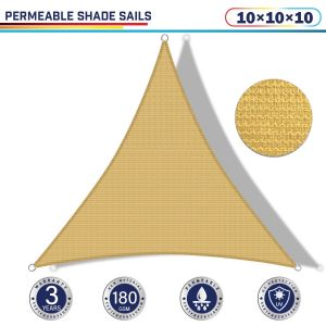 Windscreen4less 10ft x 10ft x 10ft Triangle Curve Edge Sun Shade Sail Canopy in Color Sand for Outdoor Patio Backyard UV Block Awning with Steel D-Rings 180GSM (3 Year Warranty) - Customized Sizes Available