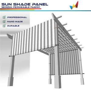 180GSM HDPE Gray / White Strips Shade Panel
