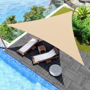 Real Scene Effect of Windscreen4less 10ft x 10ft x 10ft Triangle Curve Edge Sun Shade Sail Canopy in Color Sand for Outdoor Patio Backyard UV Block Awning with Steel D-Rings 180GSM (3 Year Warranty) - Customized Sizes Available