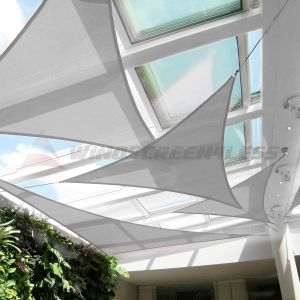 Real Scene Effect of  Cable PE-Permeable  Curved Triangle Sun Shade Sail