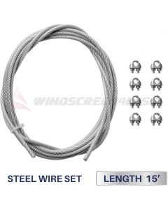 Windscreen4less Shade Sail Wire Rope and 8 Pcs Clips, Vinyl Coated Wire Cable Galvanized Metal Clamp, 3/16-Inch x 15ft