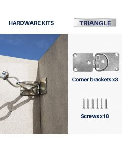 Sun Shade Sail Hardware Kit 3 Pcs Flexible Corner Bracket with D Ring Pad Eyes for Wood Concrete Wall Mounting