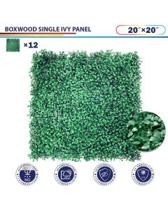 "Windscreen4less Artificial Faux Ivy Leaf Decorative Fence Screen 20"" x 20"" Boxwood Single 12pcs"