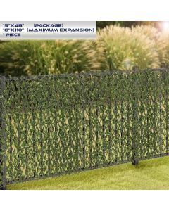 Windscreen4less Artificial Leaf Faux Ivy Expandable/Stretchable Privacy Fence Screen Buxus Single Side 1pc