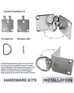 Real Scene Effect of Sun Shade Sail Hardware Kit 4 Pcs Flexible Corner Bracket with D Ring Pad Eyes for Wood Concrete Wall Mounting