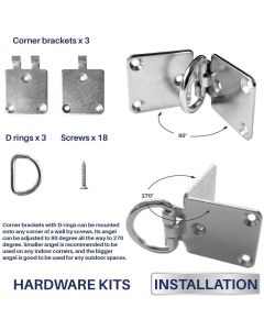 Real Scene Effect of Sun Shade Sail Hardware Kit 3 Pcs Flexible Corner Bracket with D Ring Pad Eyes for Wood Concrete Wall Mounting