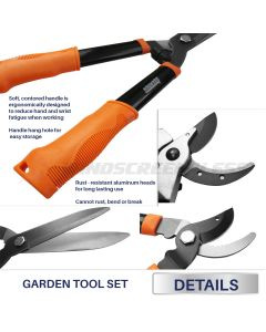 Real Scene Effect of Garden 3 Piece Combo Garden Tool Set with Lopper, Hedge Shears and Pruner Shears, Tree & Shrub Care Kit