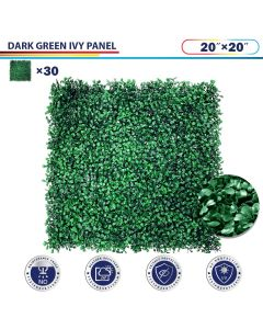 "Windscreen4less Artificial Faux Ivy Leaf Decorative Fence Screen 20"" x 20"" Boxwood Dark Green 30pcs"