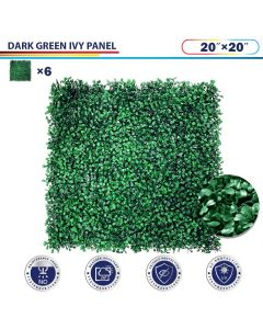 "Windscreen4less Artificial Faux Ivy Leaf Decorative Fence Screen 20"" x 20"" Boxwood Dark Green 6pcs"