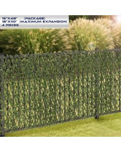 Windscreen4less Artificial Leaf Faux Ivy Expandable/Stretchable Privacy Fence Screen Buxus Single Side 4pcs