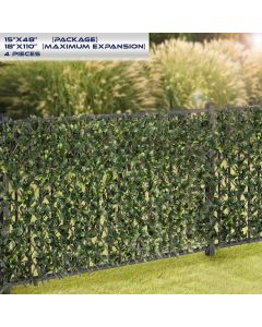 Windscreen4less Artificial Leaf Faux Ivy Expandable/Stretchable Privacy Fence Screen Ficus Single Side 4pcs