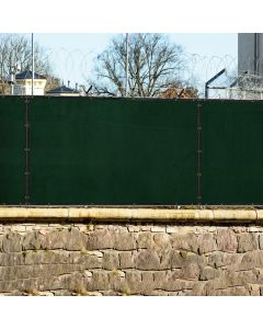 Real Scene Effect of Windscreen4less Custom Size 1-16ft x 1-300ft Heavy Duty Privacy Fence Screen in Color Dark Green with Brass Grommet 90% Blockage Windscreen Outdoor Mesh Fencing Cover Netting 180GSM Fabric w/3-Year Warranty