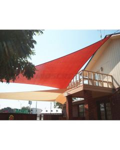 Real Scene Effect of Windscreen4less 13ft x 13ft x 13ft Triangle Curve Edge Sun Shade Sail Canopy in Color Red for Outdoor Patio Backyard UV Block Awning with Steel D-Rings 180GSM (3 Year Warranty) - Customized Sizes Available