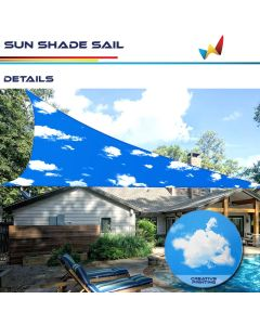 Real Scene Effect of Windscreen4less Terylene Waterproof Custom Size 5-24ft x 5-24ft x 5-34ft Triangle Curve Edge Sun Shade Sail Canopy in Color Sky for Outdoor Patio Backyard UV Block Awning with Steel D-Rings 220GSM (1 Year Warranty)