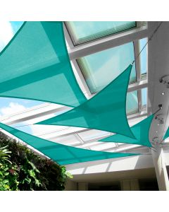 Real Scene Effect of Windscreen4less 10ft x 10ft x 10ft Triangle Curve Edge Sun Shade Sail Canopy in Color Turquoise Green for Outdoor Patio Backyard UV Block Awning with Steel D-Rings 180GSM (3 Year Warranty) - Customized Sizes Available