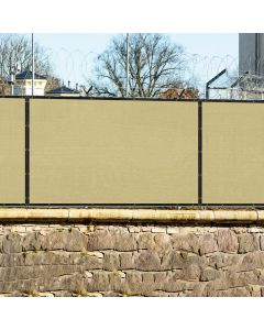 Real Scene Effect of Windscreen4less 4ft x 25ft Heavy Duty Privacy Fence Screen in Color Beige with Brass Grommet 88% Blockage Windscreen Outdoor Mesh Fencing Cover Netting 150GSM Fabric (3 Year Warranty)-Custom Sizes Available