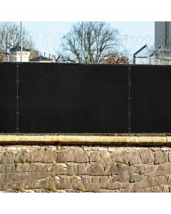 Real Scene Effect of Windscreen4less 4ft x 25ft Heavy Duty Privacy Fence Screen in Color Black with Brass Grommet 88% Blockage Windscreen Outdoor Mesh Fencing Cover Netting 150GSM Fabric (3 Year Warranty)-Custom Sizes Available