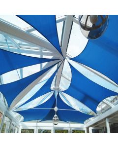 Real Scene Effect of Windscreen4less 16ft x 20ft Rectangle Curve Edge Sun Shade Sail Canopy in Color Blue for Outdoor Patio Backyard UV Block Awning with Steel D-Rings 180GSM (3 Year Warranty) - Customized Sizes Available