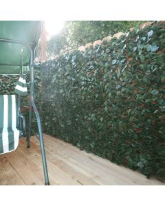 Real Scene Effect of Windscreen4less Artificial Leaf Faux Ivy Expandable/Stretchable Privacy Fence Screen Double Sides Leaves 2pcs