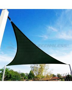 Real Scene Effect of Windscreen4less 12ft x 12ft x 12ft Triangle Curve Edge Sun Shade Sail Canopy in Color Dark Green for Outdoor Patio Backyard UV Block Awning with Steel D-Rings 180GSM (3 Year Warranty) - Customized Sizes Available(Customized)