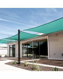 Real Scene Effect of Windscreen4less 12ft x 12ft Rectangle Curve Edge Sun Shade Sail Canopy in Color Turquoise Green for Outdoor Patio Backyard UV Block Awning with Steel D-Rings 180GSM (3 Year Warranty) - Customized Sizes Available