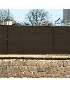 Real Scene Effect of Windscreen4less Custom Size 1-16ft x 1-300ft Heavy Duty Privacy Fence Screen in Color Brown with Brass Grommet 90% Blockage Windscreen Outdoor Mesh Fencing Cover Netting 180GSM Fabric w/3-Year Warranty