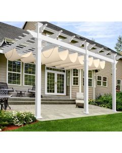 Real Scene Effect of Windscreen4less Waterproof Beige Retractable Canopy Replacement Cover for Pergola Slide On Wire Shade Cover Awning for Gazebo Trellis Hot Tub Top Cover Patio Deck Yard Porch Wave Shade 95% UV Blockage 4ft W x 12ft L 220GSM (1 Year Warranty)