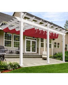 Real Scene Effect of Windscreen4less Custom Waterproof Retractable Canopy Replacement Cover for Pergola Slide On Wire Shade Cover Awning for Gazebo Trellis Hot Tub Top Cover Patio Deck Yard Porch Wave Shade 95% UV Blockage 3-7ft W x 4-40ft L Red 220GSM (1 Year Warranty)
