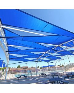 Real Scene Effect of Windscreen4less 10ft x 10ft x 10ft Triangle Curve Edge Sun Shade Sail Canopy in Color Blue for Outdoor Patio Backyard UV Block Awning with Steel D-Rings 180GSM (3 Year Warranty) - Customized Sizes Available