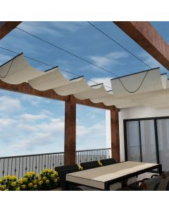 Real Scene Effect of Windscreen4less Retractable Canopy Replacement Cover for Pergola Slide On Wire Shade Cover Awning for Gazebo Trellis Hot Tub Top Cover Patio Deck Yard Porch Wave Shade 90% UV Blockage 4ft W x 16ft L Beige 165GSM (3 Year Warranty)-Custom Sizes Available(Customized)