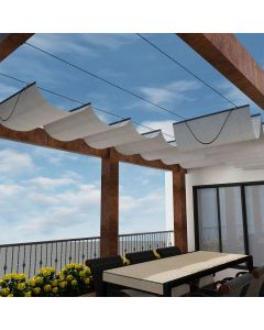 Real Scene Effect of Windscreen4less Retractable Canopy Replacement Cover for Pergola Slide On Wire Shade Cover Awning for Gazebo Trellis Hot Tub Top Cover Patio Deck Yard Porch Wave Shade 90% UV Blocka 7ft W x 16ft L Light Gray 165GSM (3 Year Warranty)-Custom Sizes Available