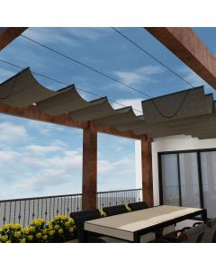 Real Scene Effect of Windscreen4less Custom Retractable Canopy Replacement Cover for Pergola Slide On Wire Shade Cover Awning for Gazebo Trellis Hot Tub Top Cover Patio Deck Yard Porch Wave Shade 90% UV Blockage 3-7ft W x 1-40ft L Brown 165GSM (3 Year Warranty)