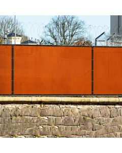Real Scene Effect of Windscreen4less Custom Size 1-16ft x 1-300ft Heavy Duty Privacy Fence Screen in Color Orange with Brass Grommet 90% Blockage Windscreen Outdoor Mesh Fencing Cover Netting 180GSM Fabric w/3-Year Warranty